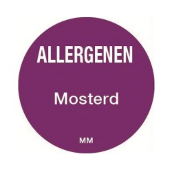 Allergie sticker 'Mosterd' rond 25 mm, 1000/rol