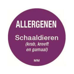 Allergie sticker 'Schaaldieren' rond 25 mm, 1000/rol