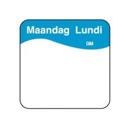 Vol. Oplosbare Sticker 'Maandag' 25mm, 500/rol