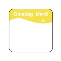 Vol. Oplosbare Sticker 'Dinsdag' 25mm, 500/rol