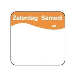 Vol. Oplosbare Sticker 'Zaterdag' 25mm, 500/rol