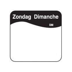 Vol. Oplosbare Sticker 'Zondag' 25mm, 500/rol
